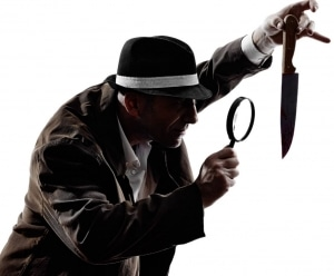 Detective looks at murder weapon